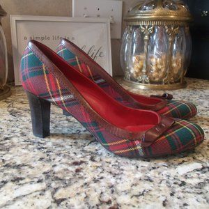 Burberry Red/Green Plaid Pumps